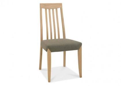 Bergen Oak Slat Back Chair - Black Gold Fabric (Pair)