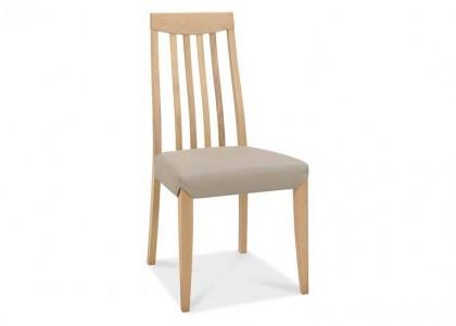 Bergen Oak Slat Back Chair - Grey Bonded Leather (Pair)
