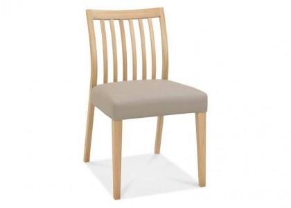 Bergen Oak Low Slat Back Chair - Grey Bonded Leather (Pair)